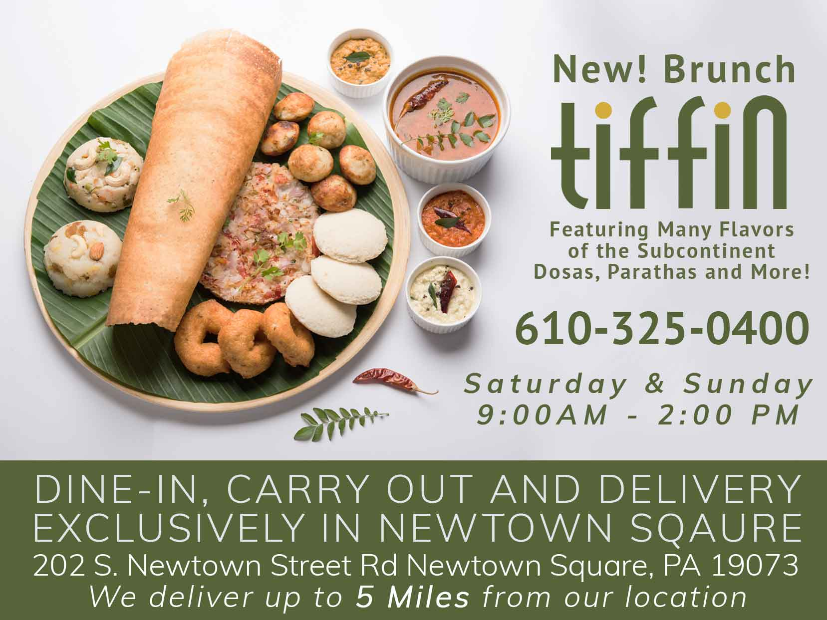 Tiffin Newtown Square Menu